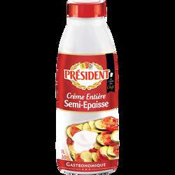 Crème UHT entière semi-épaisse 30%MG, PRESIDENT, 1l