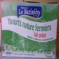 Yaourts fermiers   LA BAZINIERE   lait entier