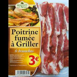 Poitrine fumée à griller GOURMETS DE L'ARTOIS, 6 tranches soit 225g