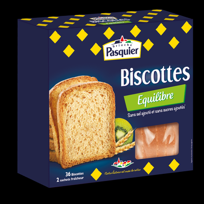 Biscottes Equilibre PASQUIER, 36 tranches, 300g