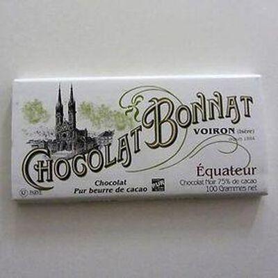 """Chocolat noir au beurre de cacao """"Equateur"""" BONNAT,100gr"""