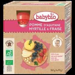 Gourdes pomme, myrtille, fraise BABYBIO, dès 6mois, 4x90g