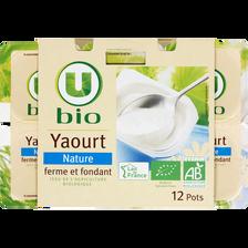 Yaourts nature U BIO, 12 pots, 125g