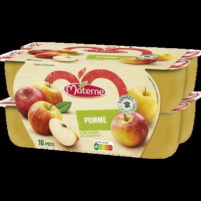 Compote allégée pomme nature MATERNE, 16x100g