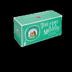 Thé vert à la menthe LES 2 MARMOTTES, 30 sachets soit 45g