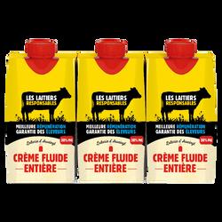 Crème fluide UHT entière 30%mg les laitiers responsables 3x20cl