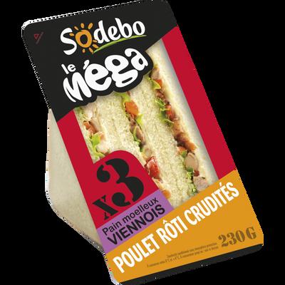 Sandwich le méga club viennois, poulet rôti et crudités SODEBO, 230g