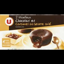 Moëlleux aux chocolat et caramel beurre salé U,  paquet de 2x95g