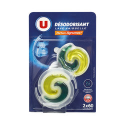 Désodorisant pour lave-vaisselle parfum agrumes U, 2x6ml
