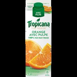 Pur jus d'orange réfrigéré avec pulpe TROPICANA Pure Premium, brique de 1 litre