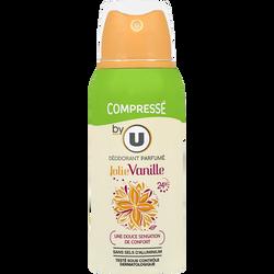 Déodorant compressé pour femme parfum jolie vanille BY U, atomiseur de100ml