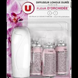 Mini diffuseur longue durée + 3 recharges parfum fleur d'orchidée U
