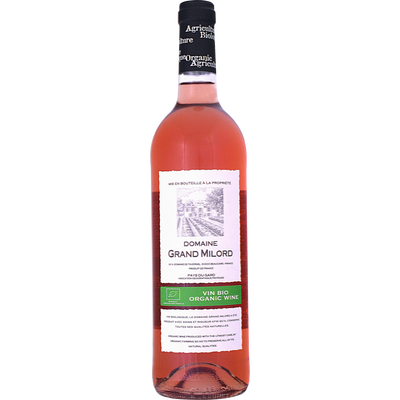 Vin rosé de pays du Gard bio Domaine du Grand Milord, bouteille de 75cl