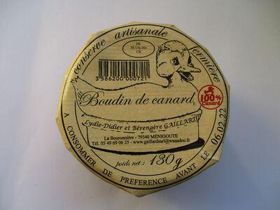 BOUDIN DE CANARD GAILLARD BOCAL 130G