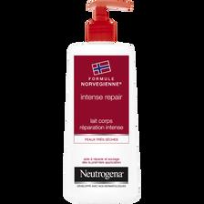 Lait corps réparation intense peaux très sèches intense repair NEUTROGENA, flacon pompe de 250ml