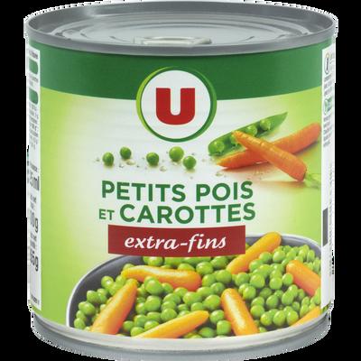 Petits pois extra-fins et carottes à l'étuvée U, boîte 1/2, 265g