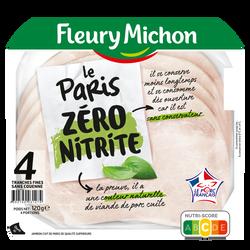 Jambon de paris zéro nitrite FLEURY MICHON, 4 tranches fines soit 120g