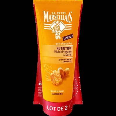 Après-shampoing pour cheveux très secs et frisés nutrition intense parfum karité & miel sans sulfate LE PETIT MARSEILLAIS, 2 tubes de 200ml