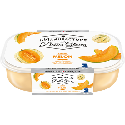 Sorbet plein fruit melon 49% de fruits, LA MANUFACTURE DES BELLES GLACES, bac de 488g