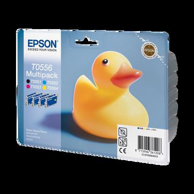 Pack 4 cartouches d'encre EPSON pour imprimante, T0556 Canard, sous blister