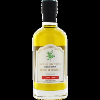 Huile d'olive vierge extra 99% à l'extrait naturel de Basilic de Provence ALBERT MENES, bouteille de 250ml