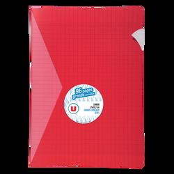 Grand cahier piqure U, grands carreaux, 21x29,7cm, 96 pages, rouge