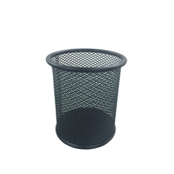 Pot à crayons, U, rond, en métal MESH, 9x9x10cm, noir