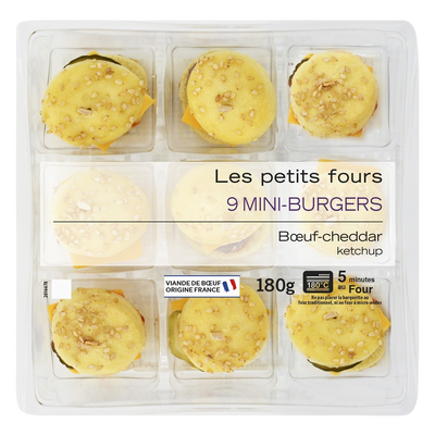 Mini burger boeuf cheddar, MIX BUFFET, 9 pièces, 180g