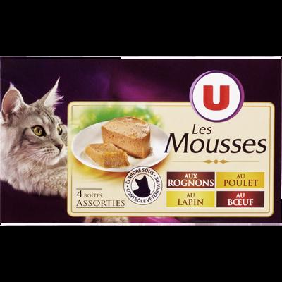 Mousse pour chat aux rognons,poulet, lapin et boeuf U, 4 boîtes de 85g