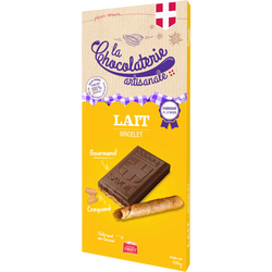 Tablette de chocolat lait bricelet LA CHOCOLATERIE ARTISANALE , 100g