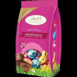 Mini oeufs lapin or assorti au chocolat au lait et au chocolat noir LINDT, sachet de 180g