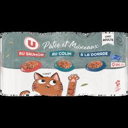 Terr.patée+morceaux p/chat au saumon/à la dorade/au colin .U bte 3x1/21,200kg