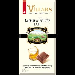 Chocolat lait liqueur whisky pure malt VILLARS, tablette de 100g