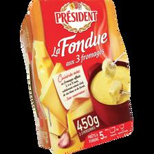 Fondue aux 3 fromages au lait pasteurisé 15% de MG PRESIDENT, 450g