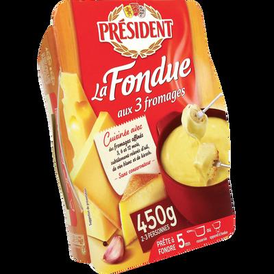 Fondue aux 3 fromages au lait pasteurisé PRESIDENT, 15% de MG , 450g