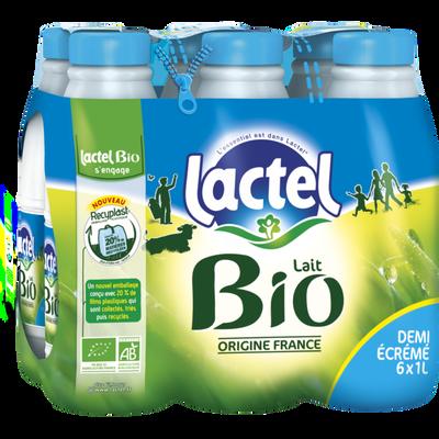 Lait demi-écrémé bio UHT LACTEL, bouteille 6x1 litre