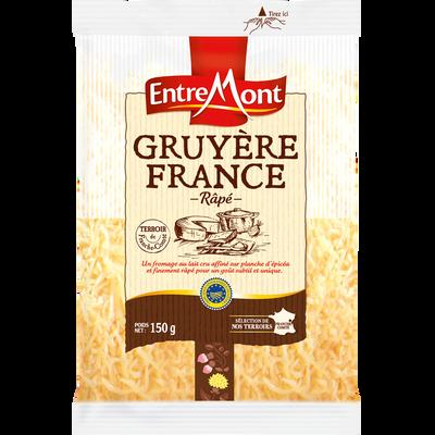 Gruyère de France râpé IGP au lait cru, ENTREMONT, 32% de MG, sachet de 150g