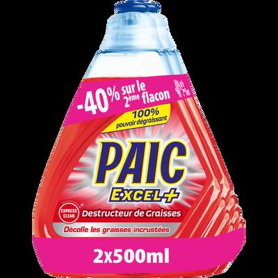 Liquide vaisselle destructeur graisse PAIC EXCEL+, 2x500ml