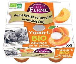 Yaourt sucré Bio abricot de Provence, INVITATION A LA FERME, pots 4x125G