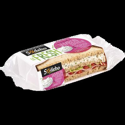 Sandwich pain de mie aux céréales jambon fromage frais et ciboulette SODEBO, 190g