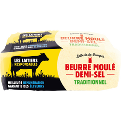 Beurre 1/ 2sel tradition LES LAITIERS RESPONSABLES, 80%mg, 250g