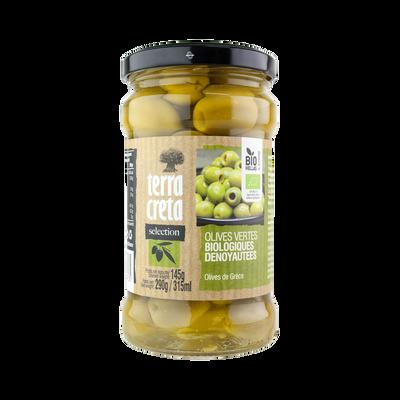 Olives vertes bio dénoyautées Sélection TERRA CRETA, pot en verre de 145g
