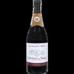 Vin rouge AOP Costières de Nîmes Les Hauts de Mélaine U, 75cl