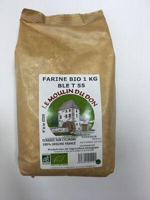 Farine de blé T55 BIO, LE MOULIN DU DON, paquet 1kg