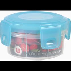 Boîte hermétique U MAISON, ronde, 0,25 litres, couvercle bleu translucide, base transparente