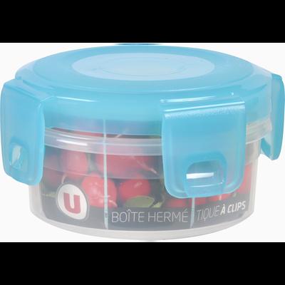 Boîte hermétique U MAISON, ronde, 0,25 litres, couvercle bleutranslucide, base transparente