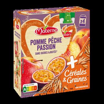Materne Materne Ssa Pomme Pêche Passion Céréales & Graines, 4x90g