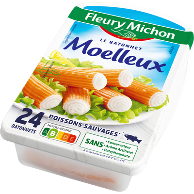 Bâtonnets de surimi moelleux FLEURY MICHON, 24 pièces 384g