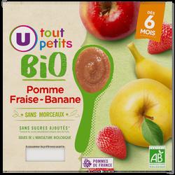 petit pots dessert pomme fraise banane Tout Petits Bio U, dès 6 mois,4x100g