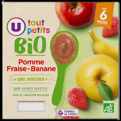 ots dessert pomme fraise banane Tout Petits Bio U, dès 6 mois, 4x100g